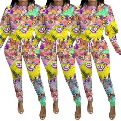 Fashionable Casual Print 2020 Women Bandage Bodysuit One Piece Jumpsuit Long Sleeve Fall Jumpsuits For Women