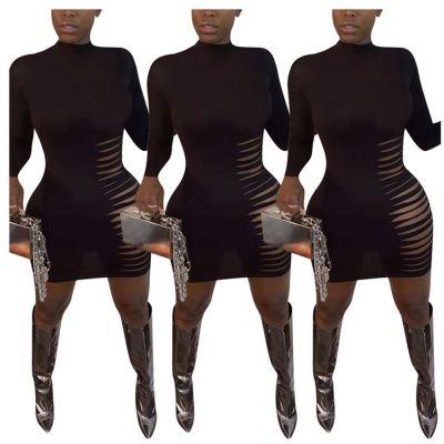 Newest 2020 Women Fall Fashion Clothing Solid Color Burn Out Mini Dress Night Clubwear Dresses Women Ladies