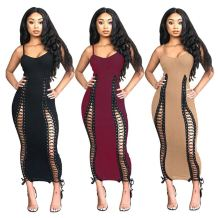 Wholesale Fashion Casual Sexy Hollow Out Skinny Bandage V Neck Elegant Dress For Women