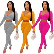 Newest Design Solid Color V Neck Draped Slit Casual 2 Piece Set Women Two Piece Set Women Clothing