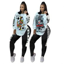 Newest Design Fashion Casual Long Sleeve Draped 2 Pcs Track Suit Outfits Two Piece Set Women Clothing