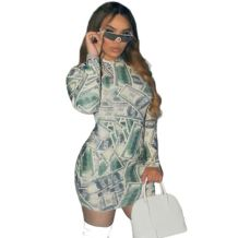 2020 Fall New Women Fashion Clothing Dresses Long Sleeve Print Night Dress Sexy Bodycon Fall Dresses For Women
