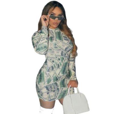 2020 Fall New Women Fashion Clothing Dresses Long Sleeve Print Night Dress Sexy Bodycon Fall Dresses For Women