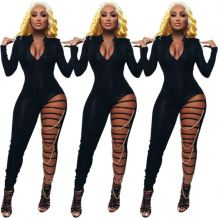 Best Design Bodycon Jumpsuits Women 2020 Sexy Deep V Neck Chain Night Clubwear Women One Piece Jumpsuits And Rompers
