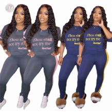 0081844 Hot Selling Autumn Word Print Side Stripe Women Sexy Sports 2 Pcs Track Suit Outfits Two Piece Set