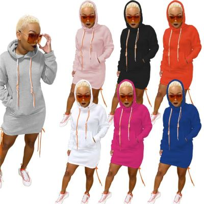 Newest Design 2020 Fal And Winter New Solid Color Long Sleeve Hooded Women Casual Dress Hoodie Dress For Woman