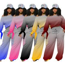 Wholesale Fashion Fall 2020 Women Clothes Gradient Color Wide-Leg Trouser Suit Casual Outfits Two Piece Set Women Clothing