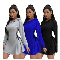 Wholesale Fashion Casual Long Sleeve Solid Color Bandage Women Girls' Clothes Lady Elegant Dress