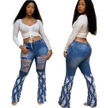 Latest Design 2020 Fashion Streetwear Holes Women Flare Denim Pants Female Bottoms Ladies Trousers Jeans Pants