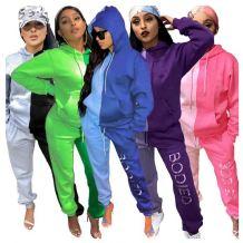 Wholesale Fall 2020 Women Clothes Sport Suit Solid Color Splice 2 Piece Hoodie Set Outfits Two Piece Set Women Clothing
