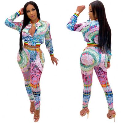 Latest Design 2020 Fall And Winter Fashion Print Women 2 Piece Pants Set Track Suit Outfits Two Piece Set Women Clothing