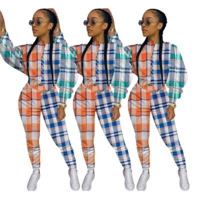 Newest Design Fall 2020 Women Clothes Fashion Plaid Print Splice Ladies 2 Piece Outfits Two Piece Set Women Clothing