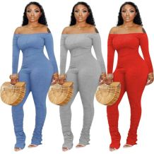New Design Off Shoulder Long Sleeve Solid Color Draped Jumpsuit Sexy Bodycon Bodysuits Women One Piece Jumpsuits And Rompers