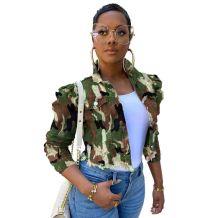 2020 Fashion Jeans Tops Slim Long Sleeve Casual Outwear Coat Plus Size Women Jeans Jacket Camouflage Short Denim Jacket