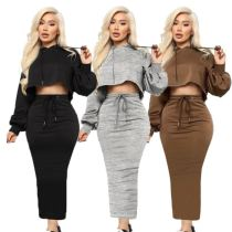 New Style Good Quality Solid Color Crop Top Bodycon 2 Piece Skirt And Top Set Two Piece Set Women Clothing