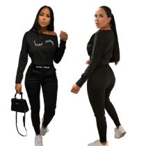 New Design Fashion Sets Womens Clothing Casual Letter Print Solid Color Women Set Sport 2 Piece Set Women Clothing