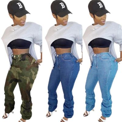 Hot Onsale Fall 2020 Women Clothes Female Bottoms Ladies Trousers Jeans Pants Women Stacked Denim Pants