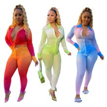 Fashionable Casual Gradient Color Skinny Long Sleeve 2 Piece Set Women Two Piece Set Women Clothing