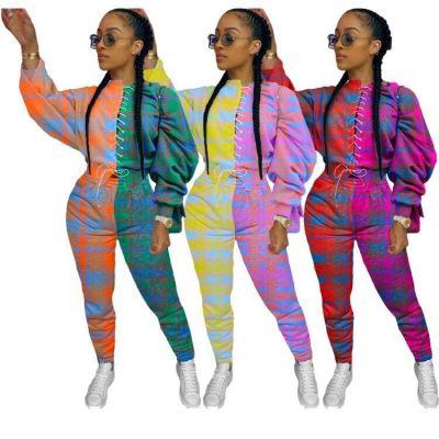 Latest Design 2020 Fall Women Clothes Fashion Plaid Print Splice Ladies 2 Piece Set Outfits Two Piece Set Women Clothing