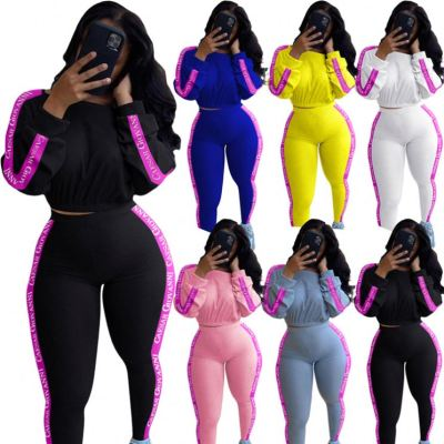 Hot Onsale Fall 2020 Women Clothes Casual Rib Sports Suit Letter Print Ladies 2 Piece Outfits Two Piece Set Women Clothing