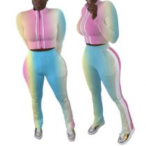 Newest Design Fashion Colorful Zipper Sports Wear Tracksuit Two Piece Set Womens Clothing 2 Piece Sets Outfit