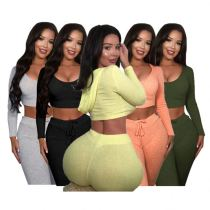 Good Quality Women Set Fall 2020 Women Clothes Casual Hooded Solid Color Two Piece Set Women Clothing Jogger Sets