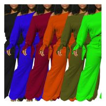 Hot Selling Fall 2020 Women Clothe Solid Color Wide-Leg Trouser Suit Casual Outfits Two Piece Set Women Clothing