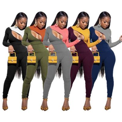 Hot Onsale Fall 2020 Women Clothes High Elastic Sexy Zipper Solid Color Splice Rib Outfits Two Piece Set Women Clothing