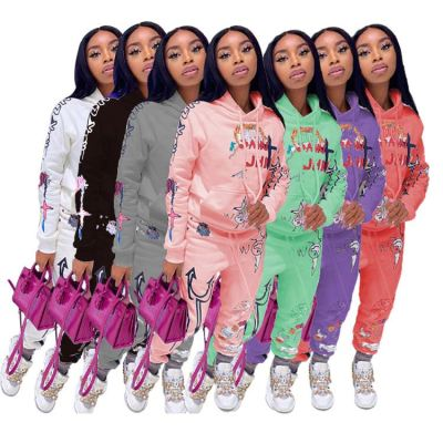 Best Seller Fall 2020 Women Clothes Casual Loose Sports Suit Print 2 Piece Hoodie Set Outfits Two Piece Set Women Clothing