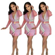 Fashion Sexy Women Top Tops And Blouses 2020 New Design Colourful Stripes With Belts Women Top Blouse Women Shirts