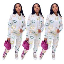 New Arrival Hot Selling Smile Print Hoodie Long Sleeve Casual Women Sets Two Piece Set Women Clothing