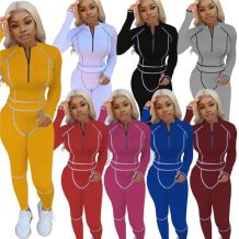 Hot Seller 2020 Fall And Winter Casual Solid Color Retro-Reflector Women Set Two Piece Set Women Clothing