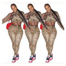 Good Price Fashion New Sexy Leopard Crop Top Long Pants Women Set Two Piece Set Women 2 Piece set Clothing