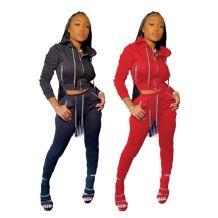 Good Quality Wholesale Solid Color Zipper Sport Tracksuit Women 2 piece Set Two Piece Sets Women Clothing