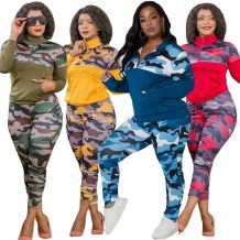 Hot Selling Casual Sports Suit Fall 2020 Women Clothes Camouflage Print Plus Size Two Piece Set Women Clothing