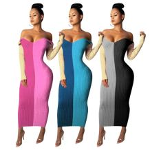 New Arrival Elegant Contrast Color Off Shoulder Long Sleeve Knit Maxi Long Women Dresses Girl Casual dress