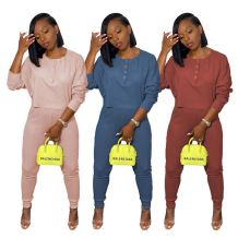 Wholesale Price Latest Design Casual Solid Color Long Sleeve Fall Women Set Two Piece Set Women Clothing