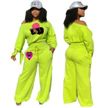 Good Design Fashion One Shoulder Wide Leg Long Pants Cute Casual Women Sets Two Piece Set Women Clothing