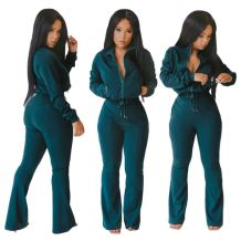 New Designs Fashion Sexy Women Fall Casual Drawstring Solid Color Long Sleeve Two Piece Set Women Clothing