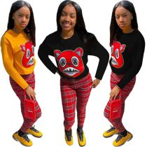 Newest Design Cute Printed Long Sleeve Plaid Pants Lovely Two Piece Set Women Clothing Women 2 piece Set
