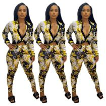 New Design Sexy Fashion Digital Printing Long Sleeve For Fall Two Piece Set Women Clothing Women Set