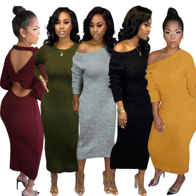 Womens Fall 2020 solid color open back knitted Bodycon Long Sleeve Dress Hot Sale Latest Casual Dress Designs Woman Casual Dress