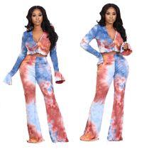 Best Design Fashion Tie Dye Long Sleeve Casual Clothes Two Piece Set Women Clothing Women 2 piece Set