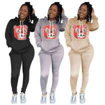 Best Seller Fashionable Print Solid Color Hoodie For Fall Two Piece Set Women Clothing Women Jogger Set