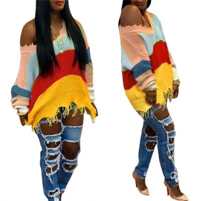 Hot Sale Wholesale Fashion Colorful Strip Off Shoulder Long Sleeve Fall Winter Clothes Women Sweater Women Top