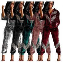 High Quality Wholesale 2020 Fashion Leopard Stripe Long Sleeve Two Piece Set Women Clothing Women Set For Autumn