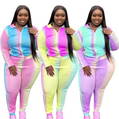 Good Quality Newest Design Patchwork Color Casual Long Sleeve Fall Two Piece Set Plus Size Women Clothing