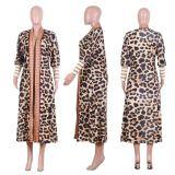 Wholesale Latest Design 2020 Fall Long Wind Coat  Leopard Print Winter Tops Women Autumn Jackets And Coats