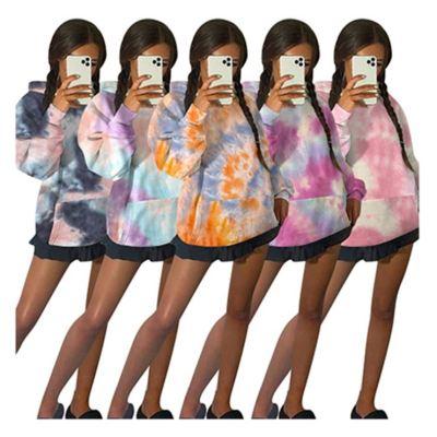 Good Material Popular Wholesale Price Fashion Long Sleeves Tie Dye New 2020 Hoodie Women Tops Ladies Tops