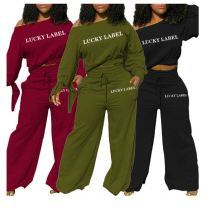 Drop Shipping Wholesale One Shoulder Wide Leg Pants Two Piece Set Women Clothing 2 Piece  Sets Womens Clothing